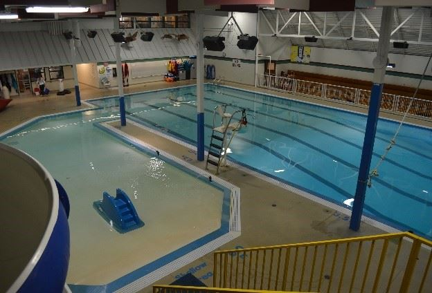 The large indoor pool area in the Northern Lights Aquatic Centre.