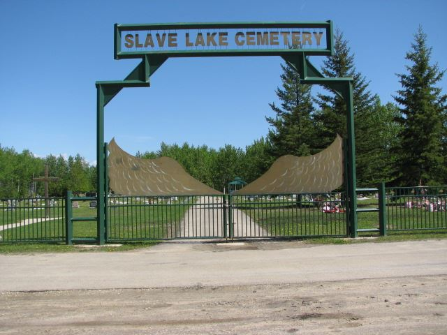 The large ornate gates of Slave Lake Cemetery.